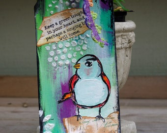 Mixed Media Art Tag Original Art Tag Bird
