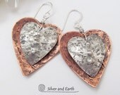 Valentine Heart Earrings, Sterling Silver & Copper Earrings, Romantic Valentine Jewelry, Anniversary Gift, Unique Valentine Gifts for Her