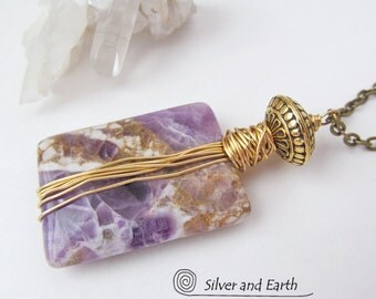 ON SALE Amethyst Necklace, Wire Wrapped Stone Pendant, Amethyst Jewelry, Purple Stone Necklace, Crystal Quartz Necklace, Jewelry Sale