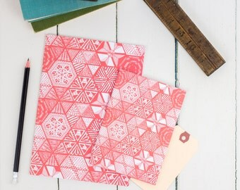 Hexies Coral Notebook Set, set of 2 a5 and a6 plain notepad, multipack, pink pattern unlined sketchbook