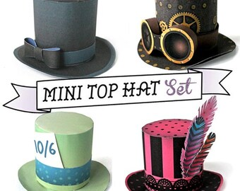 Mini top hat templates/patterns with an easy no-sew step by step instructions. Including 4 fabulous top hat designs by Happythought.