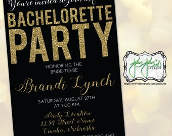 Gold Glitter, Bold and Simple Bachelorette Party Invitation, black and white (Digital File)