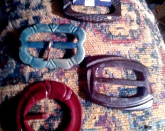 Lot of 4 Vintage Bakelite Belt Buckles