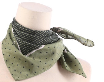 Vintage POLKA DOT SILK Scarf 90s Small Moss Green Black Kerchief  Mod Neck Scarf Hand Rolled Edges Hipster Womens Mens Gift Christmas Idea