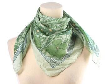 SHAMROCK Print Scarf 1980s Silk Chiffon Floral Clover Leaf Printed Sheer Vintage Neck Kerchief Transparent Retro Fresh Green Womens Gift