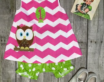 Look Whoo's Turning 1 Owl First Birthday dress and bloomers