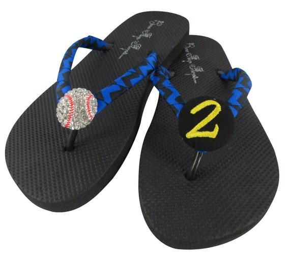 Baseball Bling and Number Flip Flops, Baseball Mom Sandals, Player number or initial- bling sports ball rhinestone, ribbon