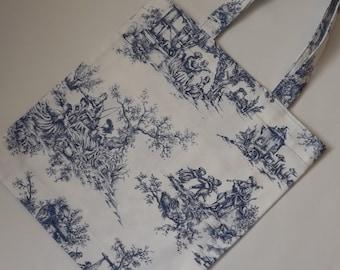 Blue Tote, Cream Tote, Blue Shopping Bag, Market Bag, Toile De Jouy Fabric Bag, Gift Idea
