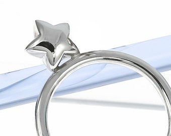 Silver Small Star Stacking Ring | Stargazing | Sterling Silver | Handmade in London