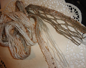 Gorgeous variegated netting fiber/trim with gold sequins