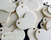 Small Wooden HEART Tags (Lot of 25) for Valentine's Day, Weddings, Name Tags, DIY Unfinished Wood [Blank labels / ornaments]