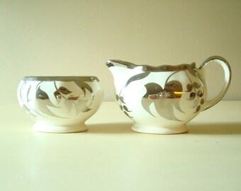 Silver lustreware creamer and sugar, luster ware cream pitcher and sugar bowl, Sandland Ware, Lancaster, Hanley England