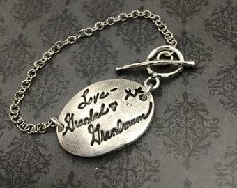 Signature Bracelet- Handwriting Bracelet - Custom Jewelry - Fingerprint jewelry - custom signature - gift for mom - custom bracelet