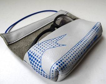 Leather case for pens or glasses (white leather with blue print)