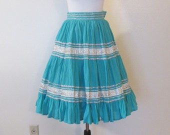 50s Mexican Turquoise Crinkled Cotton Silver Rick Rack and Ribbon Trim Tiered Circle Skirt Sz XS