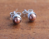 Silver and Copper Nugget Earrings - Silver and Copper Stud Earrings