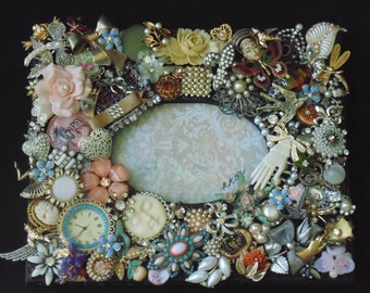 OOAK Gypsy Frame Altered Art Assemblage Mosaic Upcycled Jewelry