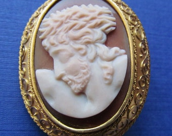 Jesus Ecce Homo Hardstone Cameo 14 Karat Gold Brooch Pin Antique Religious Crown Of Thorns Jewelry