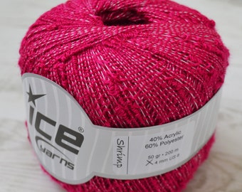 Knitting yarn, Destash yarn, fuchsia yarn, pom pom yarn, Ice Yarn, Y32