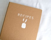 Recipe Binder -- Hand-Stenciled Cover  - Heavy-duty recycled cardboard - 3-ring binder for letter-size recipes - Binder only - no inserts