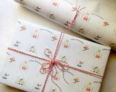 Petite Wrap Winter Wonderland - Watercolor Dog Wrapping Paper Set of 4 sheets - Small wrapping paper sheet - Holiday Wrap for small packages