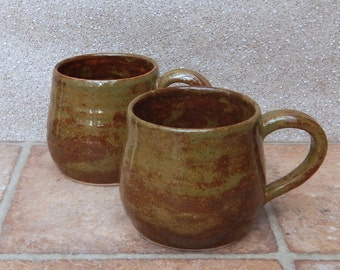 Cuddle mug coffee tea cup hand thrown stoneware pottery ceramic