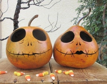 Halloween Gourd Jack and Sally Skellington Primitive Pumpkin Decoration ( sold as a pair) (inspired by Tim Burton)