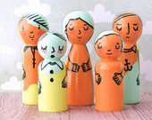 Doodle Peg Dolls by Walter Silva - Modern trendy Toy - Handmade Art Doll Toys