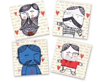 Macho Men Doodle Valentines Magnets - Set of Four Square Doodle Magnets - Recycled Wine Crate Magnets - Father's Day Gift