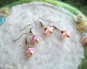 Tiny  Earrings, Lucite Flowers, Pale Pink Pixie Flower Earrings, 2 Pair