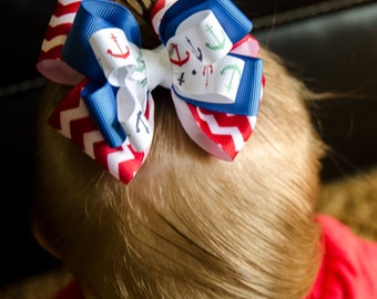 Hair Bow - Boutique Layered Patrotic Red, White, and Blue Girls Hair Bow, Baby Hair Bow