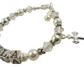 Cross Bracelet for Baby or Big Girl. Great gift for Baptism, christening , first communion or from Godparents. swarovski pearl and crystal