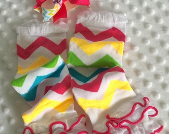 2pc Rainbow Chevron Ruffle Leg warmers AND Bow