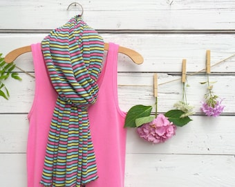 Stripe Scarf, Jersey Scarf, Long Scarf, Pink and Brown Scarf, Wrap, Shawl, Oversized Scarf, Fall Scarf, Winter Scarf