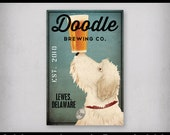 FREE CUSTOMIZATION Black Scruffy Furry Dog Brewing Company Beer Sign Gallery Wrapped Canvas Wall Art Ready-to-Hang Doodle