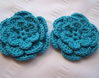Flower crochet motif 3 inch cotton blue