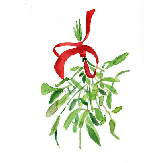 Mistletoe Art print/ mistletoe print of original watercolor painting/ Christmas art/ Christmas print/ holiday decor/ holiday art