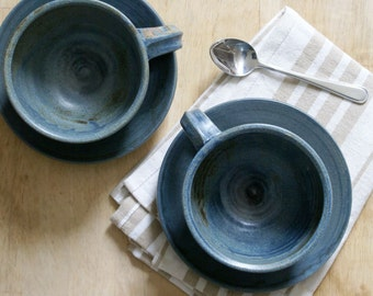 SECONDS SALE - Pottery cappuccino cups with saucers glazed in smokey blue
