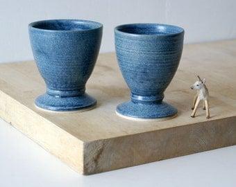 Set of two handmade pottery wine goblets - glazed in smokey blue