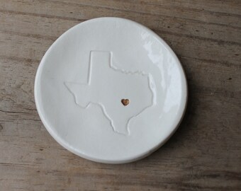 texas ring holder - with heart - choice of soft white