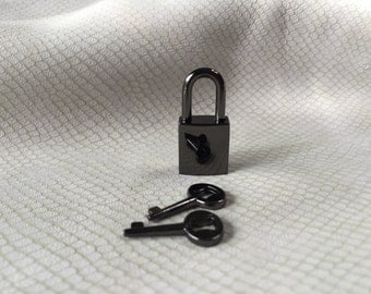 Small Gunmetal Black Square Working Padlock with two keys
