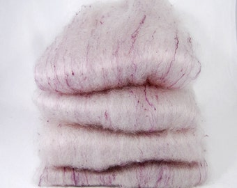 BFL/Silk White Violet Spinning Batts - 4 ounces