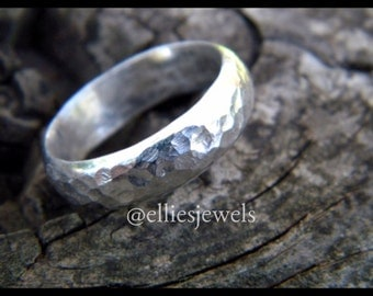 Substantial sterling silver ring with hammered texture, size 10.5