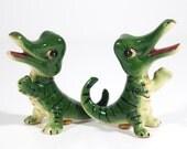 Vintage Alligator / Crocodile Salt & Pepper Shakers - Ceramic