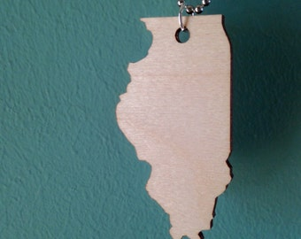 Large Size Wooden Illinois Necklace - Lasercut Wood State Shape Jewelry