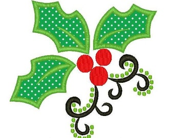 Christmas Holly Machine Embroidery Applique Design 2