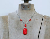 1920s art deco opaque cherry red glass stone pendant necklace / 20s antique rhodium plated filigree necklace