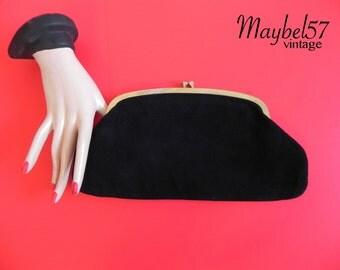 Vintage Handbag 50s Soft Black Suede Clutch- 1950s Frame Clutch Handbag  Purse NH