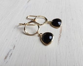 Matte Gold Twisted Circle and Black Bezel Earrings