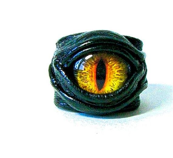 Dragon eye adjustable  genuine leather ring. Statement ring. Horror leather ring. Evil eye ring. Halloween ring. Burning man costumes.